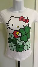 "NWOT Hello Kitty Girl's ""Luck Of The Irish"" White & Green Glitter Tee-Sizes 5-14"
