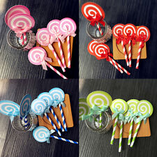 6pcs  Lollipop Cake Cupcake Topper Shower Party Picks Birthday Cake Decoration C