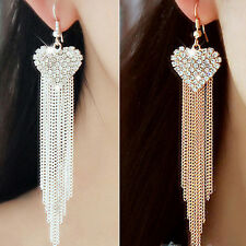 Beauty Lady Gold/Silver Alloy Rhinestone Long Tassel Heart Drop Dangle Earrings