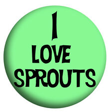 I Love/Hate Sprouts, Twin Pack Xmas Party Stocking Filler, 2 x 58mm large badges