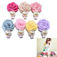 Satin Flower Pearl Clips for Kids Rose Style Clips Hair Accessories Hairpins QW