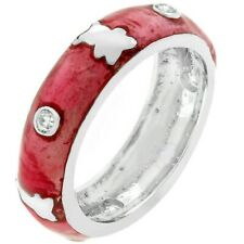 Pink Ice Teddy Bear Enamel Eternity Band Ring       SZ 6, 8, 9