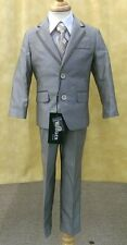 Boys Fouger Kids Y5-458 Mouse Grey WEDDING PAGEANT 5 pc vest Sateen suit set