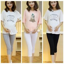 Soft Pregnant Women Elastic Capris Pant Solid Pleated Cotton Maternity Leggings