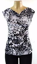 TEENPLO USA Black/White Floral Cowl Neck Shirred Side Cap Sleeve Top - S,M,L,XL
