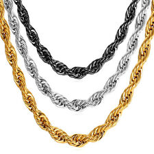 "Stainless Steel Rope Chain Necklace 18K Gold Plated Men's Jewelry 3-9MM 18""-30''"