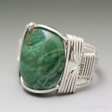 African Jade Sterling Silver Wire Wrapped Cabochon Ring