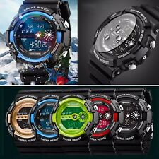 Mens Digital Light Date Alarm Waterproof LCD Military Army Quartz Sports Watch