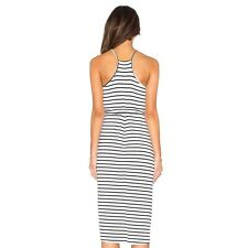 Deep V-necked Stripe Suspender Swallow-tailed Dress    L