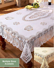 Crochet Lace Vinyl Tablecloth White Beige 4sz IN HAND Cover Elegant Dining Table