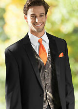 NEW Medium Mossy Oak Tuxedo Vest Orange Tie Hankie Alpine Break Up Camo Formal