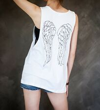 Daryl Dixon Wings Crossbow Dead Zombie Sexy Sideboob Unisex Tank Top Low Cut