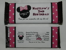 PERSONALIZED MINNIE MOUSE BIRTHDAY PARTY FAVOR GIFT CANDY BAR WRAPPER LABELS