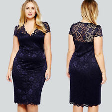 Women Sexy V-neck Lace Dress Party Cocktail Evening Dress Navy Blue Plus Size