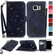 Jewelled smart phone leather case PU wallet flip cover folios card holder strap