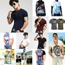 Fashion Men's Slim Fit Cotton Short Sleeve T-Shirt Casual Sports Tops Shirt LOT