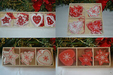12 wooden red white shabby chic christmas decorations tree star heart reindeer