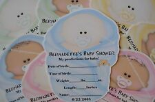 """UNIQUE BABY SHOWER PARTY FAVOR BABY PREDICTION CARD GAME SHAPED LIKE BABY """"CUTE"""""""