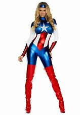 WOMENS LADIES SEXY HERO CAPTAIN COSTUME FANCY DRESS PARTY SUPERHERO