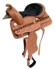 "Western Leather saddle 15"",16"" & 17"" Natural Colour with carving"