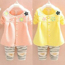 Summer Spring Cotton Baby Infants Kid Girl Shirt Top+ Pants Trousers Outfit 0-4T