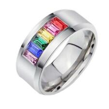 Rainbow Stainless Steel Colorful Rhinestone Ring Gay Les Pride US Size 5-13