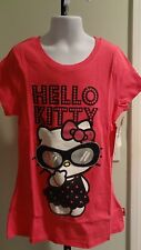 NWT Hello Kitty Girl's Hot Pink Sparkly Sunglasses Tee - Sizes 7-12