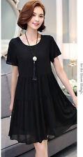Womens chiffon tops short sleeves dress Evening Party Cocktail dress plus size