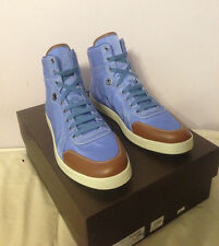 Gucci Blue Guccissima Nylon Cuir Leather Trim High Hi-Top GG Logo Sneakers Shoes
