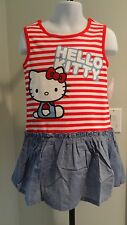 NWT Hello Kitty Toddler Red/White/Blue Sparkly Striped/Chambray Dress - 2T-4T