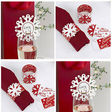 Christmas Snowflake place Name Cards for Glasses / Napkin Rings Table Decoration