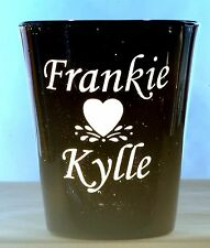 Romance Personalized Shot Glass engraved Two Names and Splashing Heart Design 2
