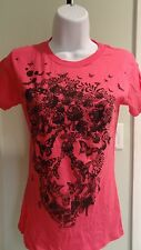 "New Loungefly ""Skull Butterfly"" Juniors Hot Pink Tee Shirt: Sizes S - L"