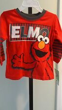 NWT Sesame Street Elmo Infant/Toddler Long Sleeve Red/Gray Tee Shirt - 12 mos-5T