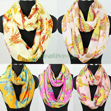 Fashion Women's Colorful Feather Print Chiffon Infinity 2Loop Cowl Casual Scarf