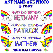 2 PERSONALISED BIRTHDAY PARTY BANNERS NAME PHOTO AGE rainbow star cloud B1