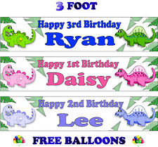 2 PERSONALISED BIRTHDAY PARTY BANNERS NAME PHOTOS AGE dinosaur blue pink kids F1