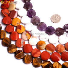 """16mm Twist Flat Coin Natural Stone For Jewelry Making 15"""" Jewelry Beads in Bulk"""