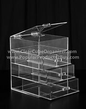 ACRYLIC LUCITE CLEAR CUBE MAKEUP ORGANIZER W/DRAWERS