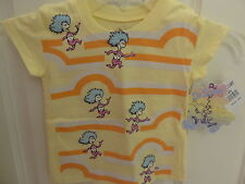 """NWT Dr.Seuss Little Girls """"Thing 1 & Thing 2"""" Yellow Short Sleeve Tee - 4-6X"""