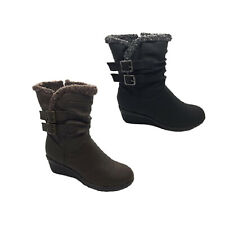Ladies Boots No Shoes Fold Black or Brown Wedge Ankle Calf Boot Fluff Size 5-11
