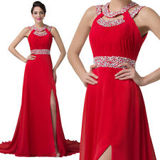 Red Formal Long Chiffon Masquerade Ball Evening Gown Bridesmaid Party Prom Dress