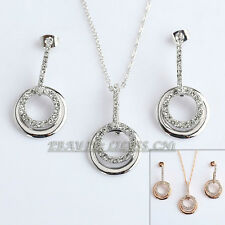 A1-S108 Fashion Double Circle Necklace Earrings Jewelry Set 18KGP Crystal