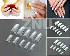 500PCS Acrylic Gel False French Half Nail Art Nail Tips CLEAR WHITE NATURAL