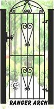 """Wrought Iron Steel Metal Side Gate - """"Ranger Arch"""" 6ft Tall Arched Gate"""