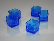 72 Blue Square Votive Holders + 72 Votive Candles: Choose From 10 Candle Colors