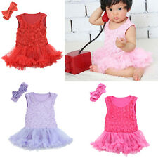 2 Pcs Toddle Baby Infant Clothes Headband Romper Newborn Girl Outfits Tutu Dress