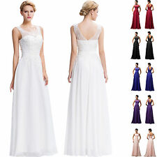 Sleeveless Long Lace Evening Party Gown Prom Bridesmaid Wedding Formal Dresses