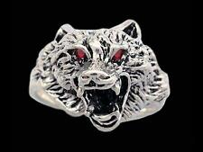 Sterling Silver Wolf Ring with Gemstone Eyes
