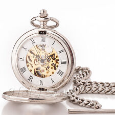 Silver Antique Style Mechanical Pocket Watch m19